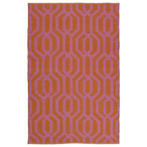 Indoor/Outdoor Laguna Paprika and Pink Geo Flat-Weave Rug (3'0 x 5'0)