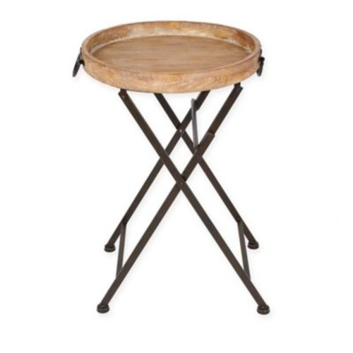 Kate and Laurel Marmora Foldable Round Tray Table in Natural