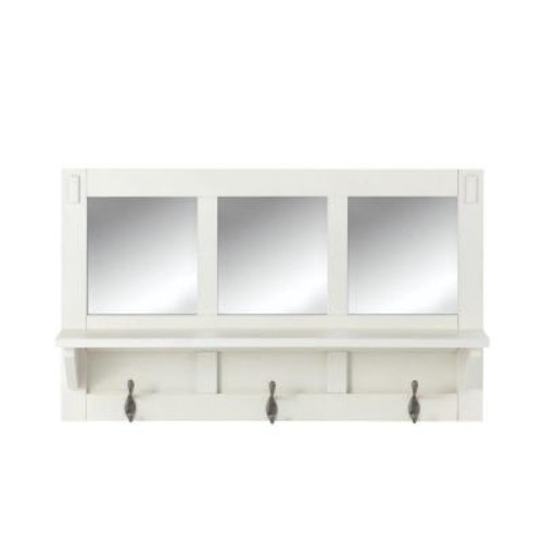 Home Decorators Collection Artisan 18 in. H 3-Hook MDF Wall Shelf with Mirror in White