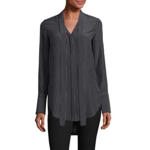 RAG & BONE Flora Striped Silk Tie-Neck Tunic