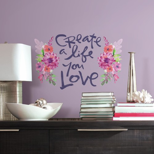 RoomMates Kathy Davis Create A Life Floral Quote Peel and Stick Giant Wall Decals