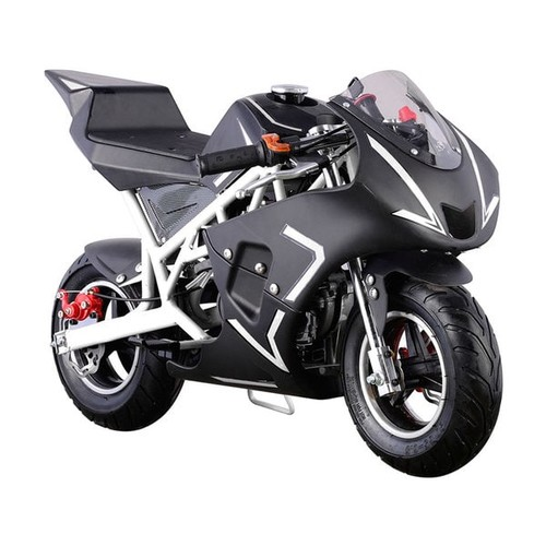 MotoTec Bicycles, Ride-On Toys & Scooters MotoTec Cali White 40cc Gas Pocket Bike