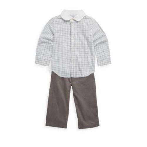 Baby's Two-Piece Tattersal Twill Shirt & Corduroy Trousers Set