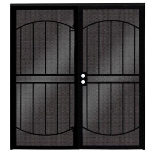 Unique Home Designs 72 in. x 80 in. ArcadaMAX Black Surface Mount Outswing Steel Security Double Door with Perforated Metal Screen
