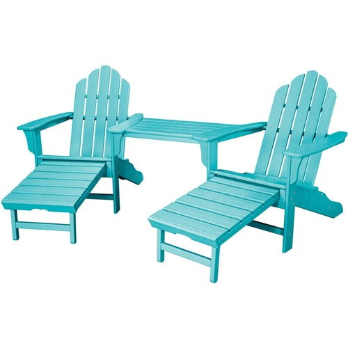 Hanover Rio Aruba Blue 3-Piece All-Weather Plastic Patio Lounge Adirondack Chair Set with Ottoman