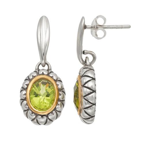 Genuine Green Peridot Sterling Silver Oval Drop Earrings - JCPenney