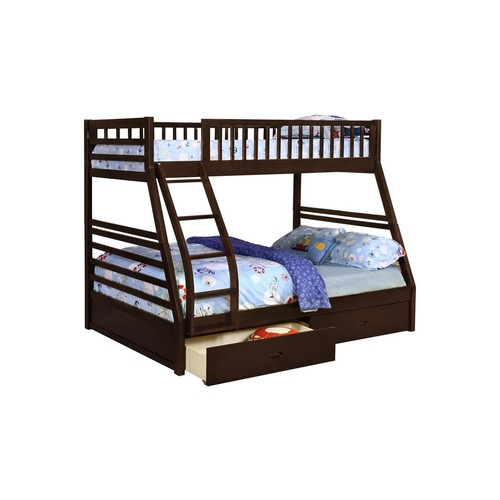 Pilaster Designs - Espresso Finish Wood Twin Over Full Size Convertible Bunk Bed