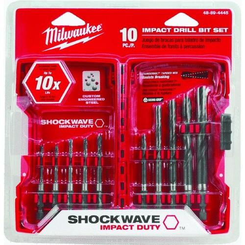Milwaukee Shockwave 10-Piece Impact Duty Hex Shank Drill Bit Set - 48-89-4445