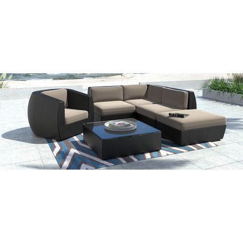 CorLiving Seattle Curved 6 pc Sectional with Chaise Lounge and Chair Patio Seating Set
