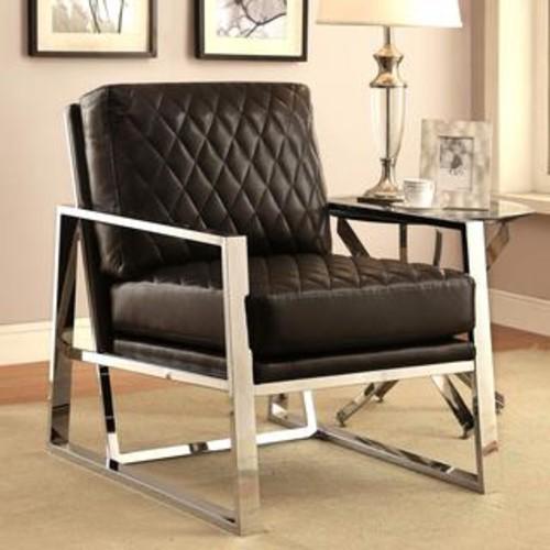 Eclipse Cream/ White Mid Century Modern Chrome Bold Design Accent Chair