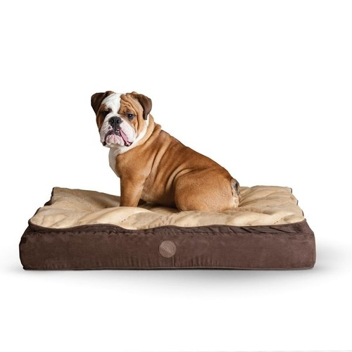 K&H Pet Products Feather Top Ortho Pet Bed Large Chocolate / Tan 40