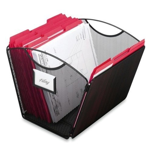 Safco Products Onyx Mesh Desktop Tub File Storage Box, Letter, Black per EA