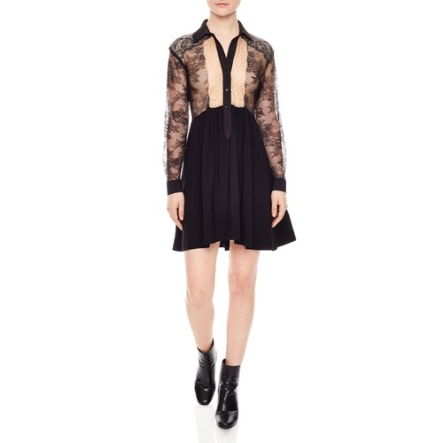SANDRO Leda Lace-Illusion Dress