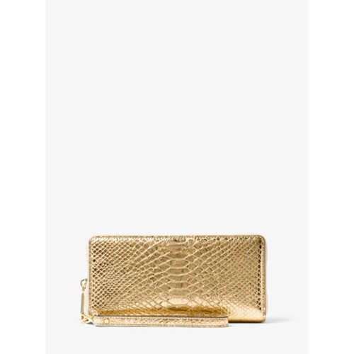 Jet Set Travel Metallic Snake-Embossed-Leather Continental Wristlet
