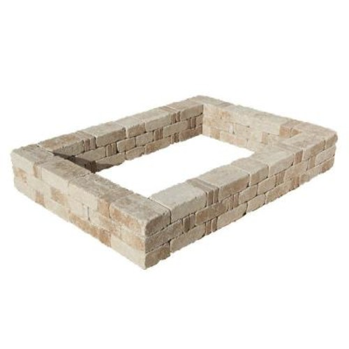 Pavestone RumbleStone 49 in. x 49 in. x 10.5 in. Greystone Concrete Raised Garden Bed