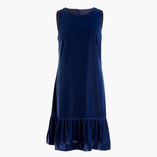 Velvet ruffle-hem dress