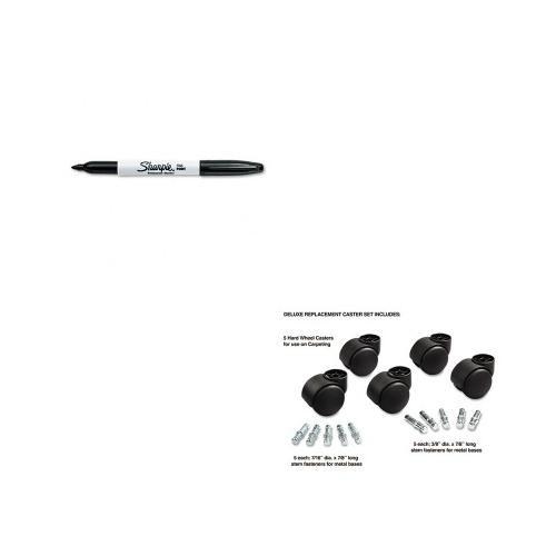 Master Caster Company MAS23618 Dual Casters- 2-. 19inch Dia- B-K Stems- Hard Wheel- Black