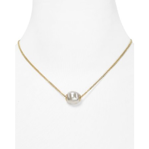 Double Chain Simulated Pearl Necklace, 16