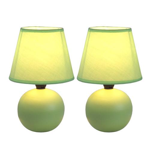 Simple Designs Mini Ceramic Globe Table Lamp 2 Pack Set Green