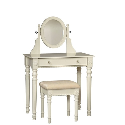Linon Princess Vanity Table, Stool & Mirror Set in Ivory