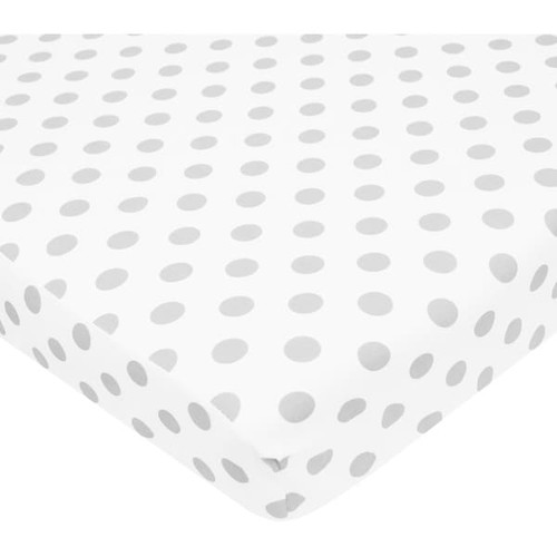American Baby Company White and Grey Dot Cotton Percale PortaMini Crib Sheet - Gray, White
