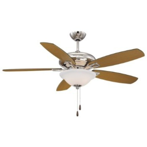 Mystique Ceiling Fan [Fan Body and Blade Finish : Polished Nickel with Chestnut and Teak]