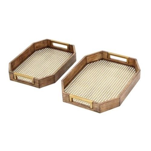 Benzara Gold-tone/Brown Wood/Metal Serving Tray (Set of 2) - Light Brown, G