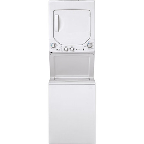 GE GUD24GSSMWW Unitized Spacemaker 2.3 DOE cu. ft. Stainless Steel Washer and 4.4 cu. ft. Gas Dryer