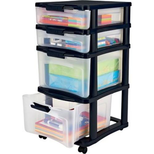 Bella Storage Solution Medium Plastic Storage Drawer Cart, 4 Drawer