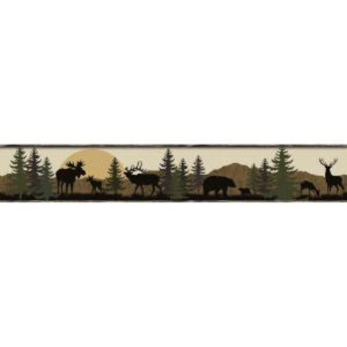 York Wallcoverings Lake Forest Lodge Scenic Silhouette Wallpaper Border