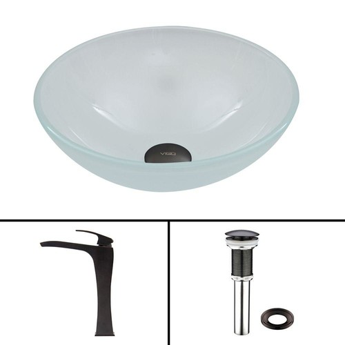 VIGO Glass Vessel Sink in Flat Edged White Phoenix Stone and Blackstonian Faucet Set in Antique Rubbed Bronze