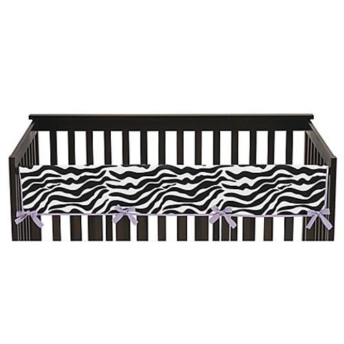 Sweet Jojo Designs Funky Zebra Long Crib Rail Guard Cover in Purple/White