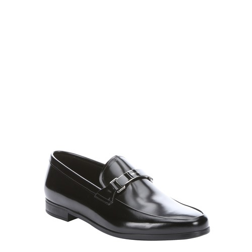 black leather buckle detail loafers