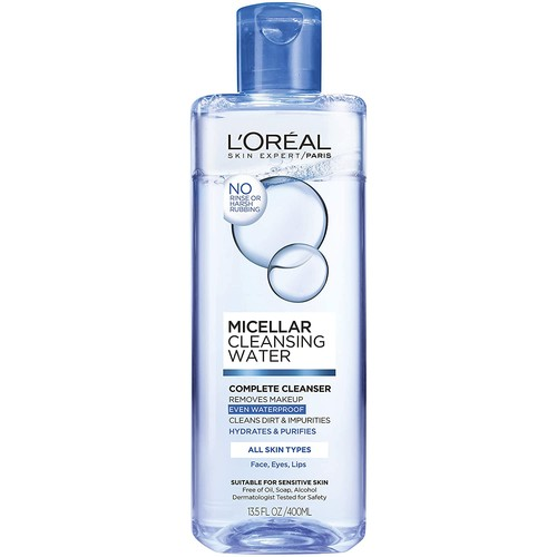 L'Oreal Paris Micellar Cleansing Water Facail Cleanser & Waterproof Makeup Remover, 13.5 fl. oz. [All Skin Types]