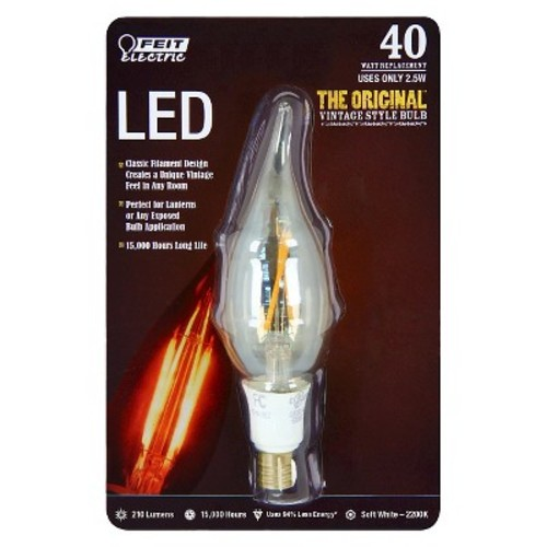 FEIT Electric Vintage Style LED Bulb 2.5 watts 210 lumens Chandelier Flame Tip 4.85 in. Soft Wh(BPCF