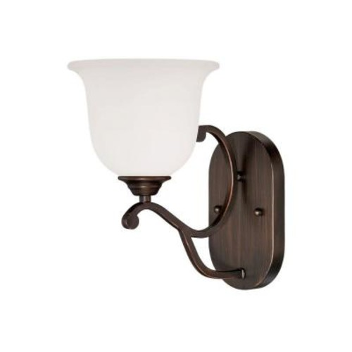 Millennium Lighting Rubbed Bronze Sconce with Etched White Glass