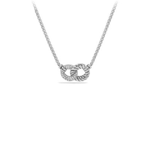 Belmont Curb Link Double Link Necklace with Diamonds