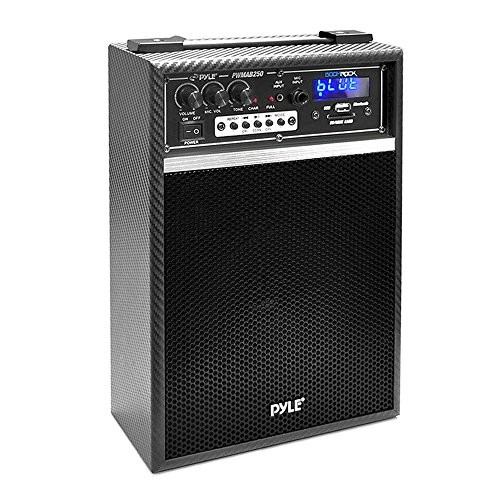 Pyle Pro 300 Watt Outdoor Indoor Wireless Bluetooth Portable PA Speaker 6.5 inch Subwoofer Sound System with USB SD Card Reader, Rechargeable Battery, Wired Microphone, FM Radio, Remote - PWMAB250BK [Black]