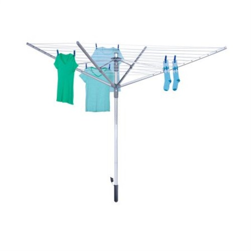 Honey Can Do Outdoor Umbrella Drying Rack with 12 lines, Silver
