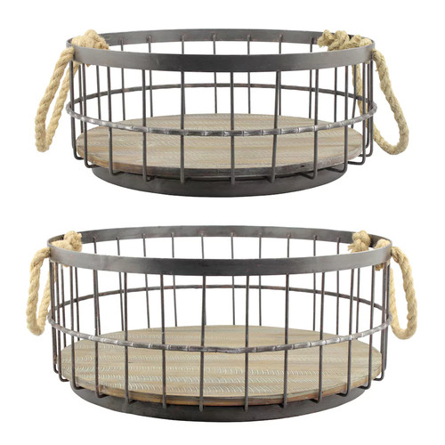 Stonebriar Collection Wire & Wood Coastal Basket 2-piece Set
