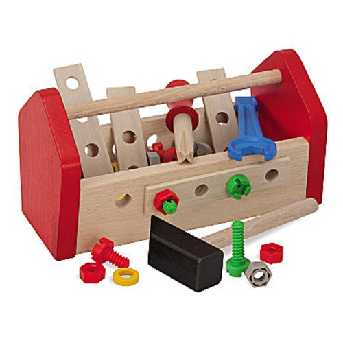 30 Piece Wooden Tool Box Set Toy Tools