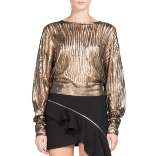 SAINT LAURENT Metallic Distressed Rib-Knit Top