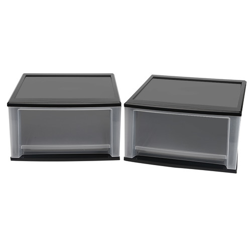 Iris Usa, Inc. 2-Piece 32-Quart Stacking Drawer Large Black