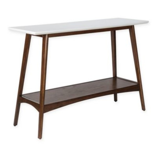 Madison Park Parker Console Table in Pecan/White