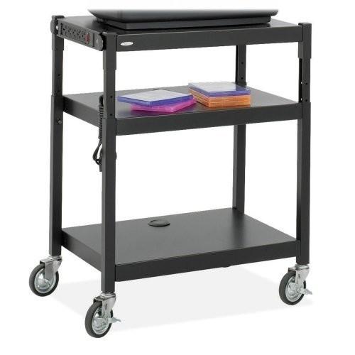 Safco 8932 Adjustable Height A/V Cart - Steel - Black