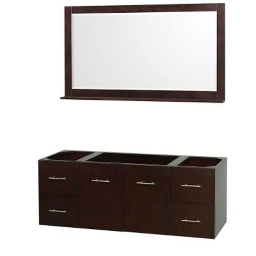 Wyndham Collection Centra 59 in. Vanity Cabinet with Mirror in Espresso