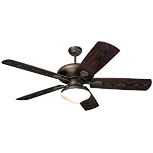 Monte Carlo 5SH54RBD The Shores 54-Inch 5-Blade Outdoor Ceiling Fan with Light Kit, ABS and Grain Blades, Roman Bronze [Roman Bronze]