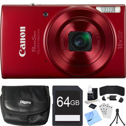 Canon PowerShot ELPH 190 IS Red Digital Camera w/ 10x Optical Zoom 64GB Card Bundle