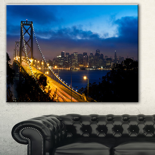 Bay Bridge San Francisco' Cityscape Photo Canvas Print - Blue