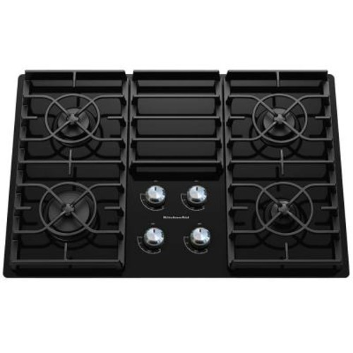 KitchenAid Architect Series II 30 in. Gas-on-Glass Gas Cooktop in Black with 4 Burners including 17000-BTU Professional Burner